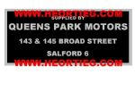 Queens Park Motors Salford Motorcycles Dealer Decals Transfers DDQ44
